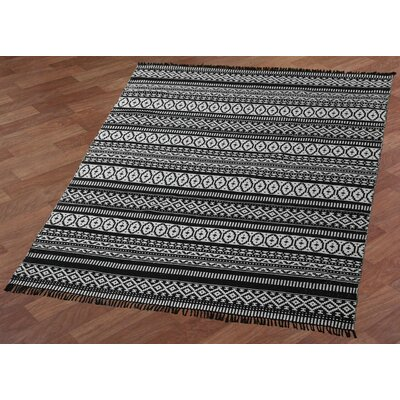 Complex Hand-Loomed Black Area Rug Rug Size: 4 x 6