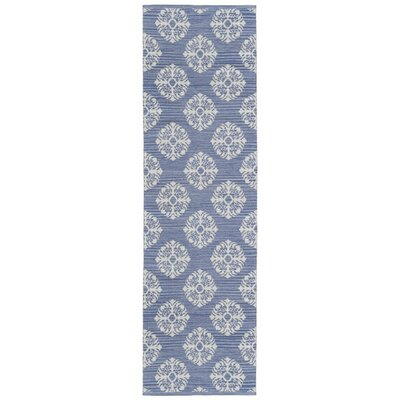 Jacquard Handmade Blue Area Rug Rug Size: Runner 26 x 12