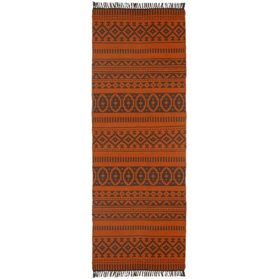 Complex Hand-Loomed Orange Area Rug Rug Size: Runner 26 x 12