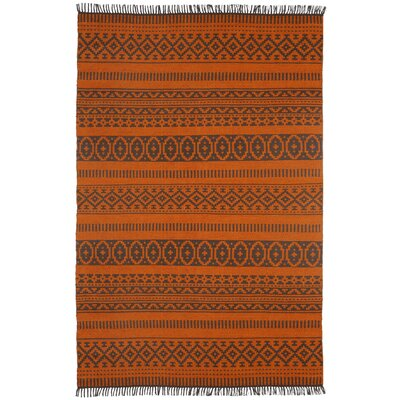 Complex Hand-Loomed Orange Area Rug Rug Size: 4 x 6