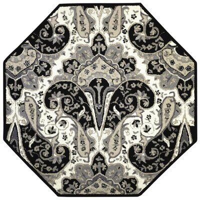 Structure Hand-Tufted Black Area Rug Rug Size: Octagon 6 x 6