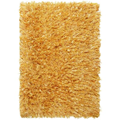 Shimmer Hand-Loomed Yellow Area Rug Rug Size: 26 x 42