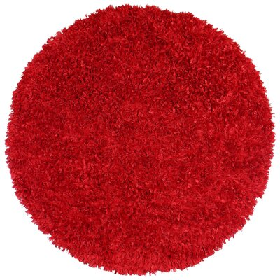 Baumann Hand-Loomed Red Area Rug Rug Size: Round 2'