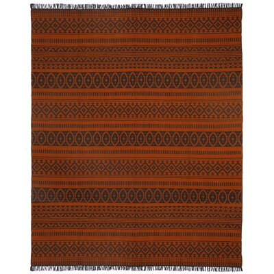 Complex Hand-Loomed Orange Area Rug Rug Size: 10 x 14