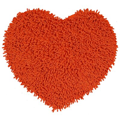 Shagadelic Hand-Loomed Orange Area Rug Rug Size: Heart 18 x 2