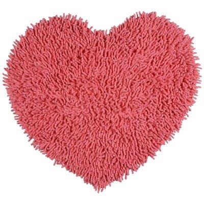 Shagadelic Hand-Loomed Pink Area Rug Rug Size: Heart 18 x 2