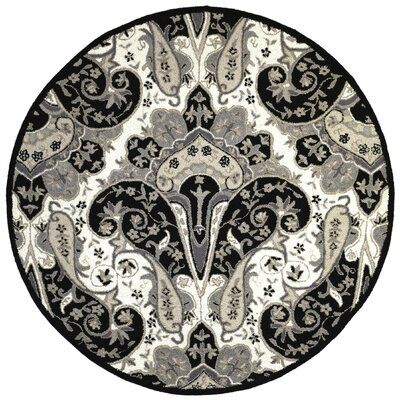 Structure Hand-Tufted Black Area Rug Rug Size: Round 6