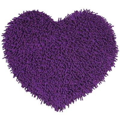 Shagadelic Hand-Loomed Purple Area Rug Rug Size: Heart 18 x 2