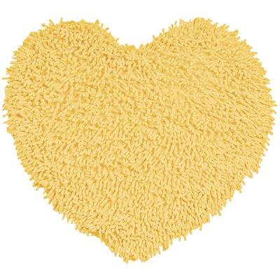 Shagadelic Hand-Loomed Yellow Area Rug Rug Size: Heart 18 x 2