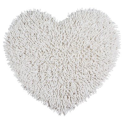 Shagadelic Hand-Loomed White Area Rug Rug Size: Heart 18 x 2