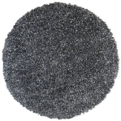 Shimmer Hand-Loomed Gray Area Rug Rug Size: Round 5