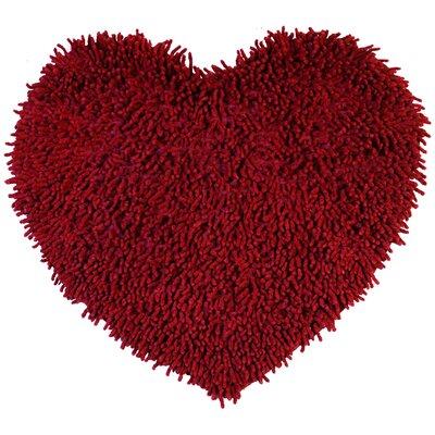 Shagadelic Hand-Loomed Burgundy Area Rug Rug Size: Heart 18 x 2