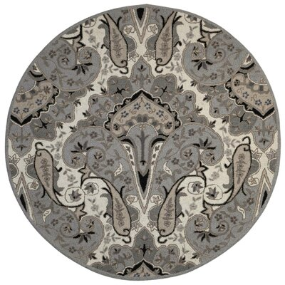 Structure Hand-Tufted Silver Area Rug Rug Size: Round 6