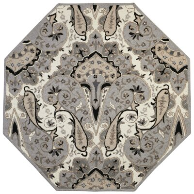 Structure Hand-Tufted Silver Area Rug Rug Size: Octagon 6 x 6
