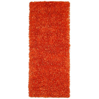 Shimmer Hand-Loomed Orange Area Rug Rug Size: 2 x 5