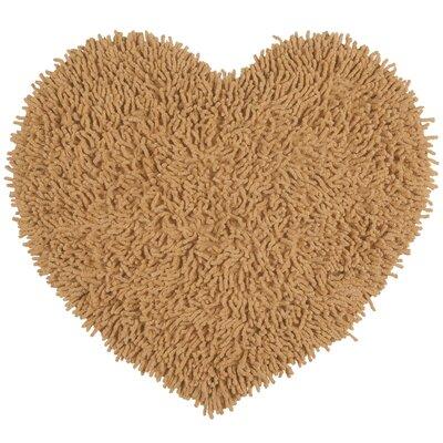 Shagadelic Hand-Loomed Tan Area Rug Rug Size: Heart 18 x 2