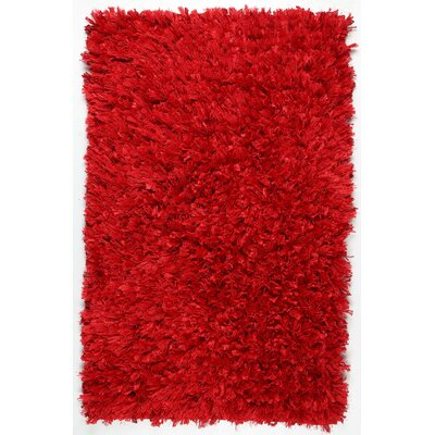 Shimmer Hand-Loomed Red Area Rug Rug Size: 2'6
