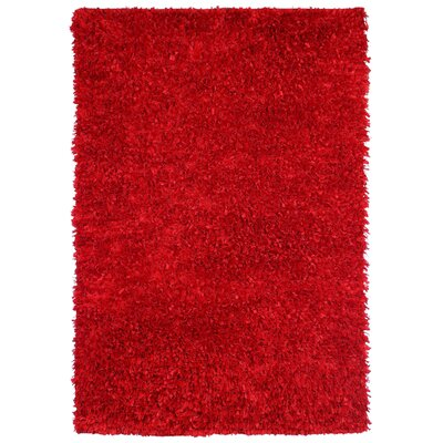Shimmer Hand-Loomed Red Area Rug Rug Size: 4' x 6'