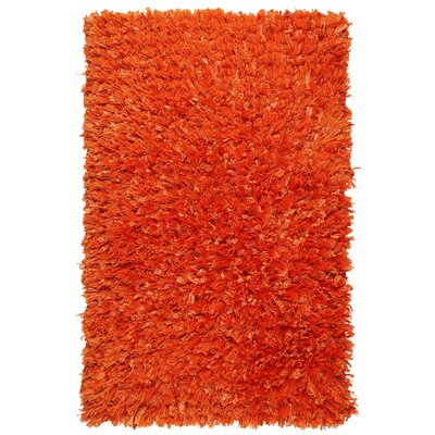 Shimmer Hand-Loomed Orange Area Rug Rug Size: 19 x 210