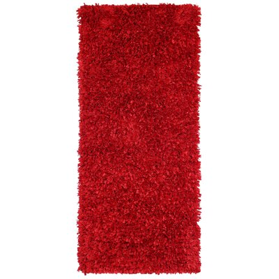 Shimmer Hand-Loomed Red Area Rug Rug Size: 2 x 5