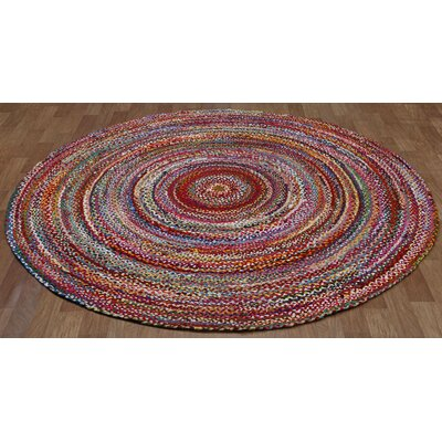 Brilliant Ribbon Hand-Loomed Area Rug Rug Size: Round 6