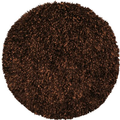 Shimmer Shag Hand-Loomed Brown Area Rug Rug Size: Round 5