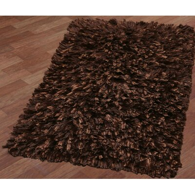 Shimmer Shag Hand-Loomed Brown Area Rug Rug Size: 26 x 42