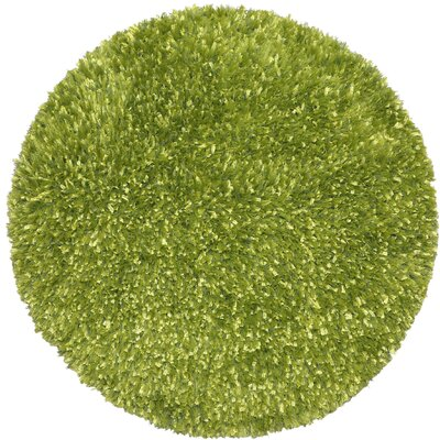 Shimmer Shag Hand-Loomed Green Area Rug Rug Size: Round 3
