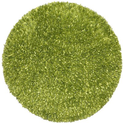 Shimmer Shag Hand-Loomed Green Area Rug Rug Size: Round 2