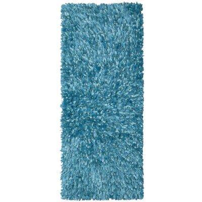 Shimmer Shag Hand-Loomed Aqua Area Rug Rug Size: Runner 2 x 5