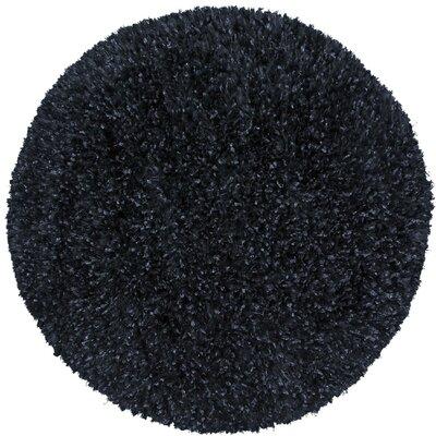 Shimmer Shag Hand-Loomed Black Area Rug Rug Size: Round 3