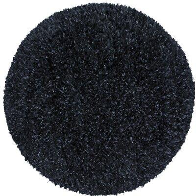 Shimmer Shag Hand-Loomed Black Area Rug Rug Size: Round 2