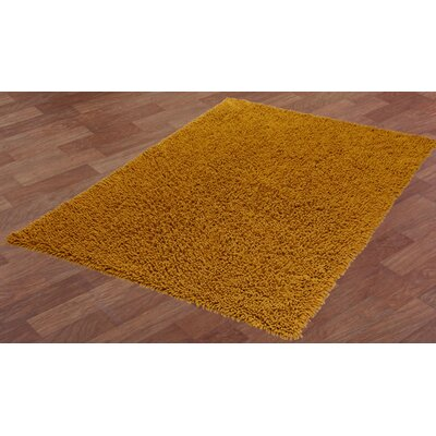 Shagadelic Hand-Loomed Gold Area Rug Rug Size: Rectangle 26 x 42