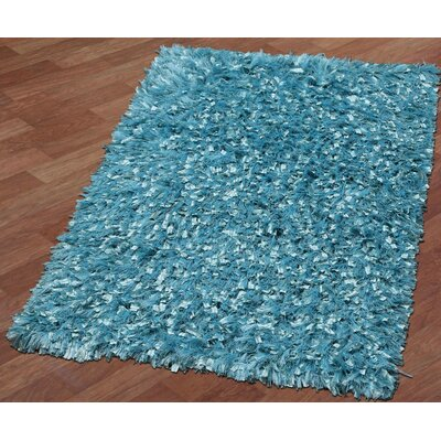 Shimmer Shag Hand-Loomed Aqua Area Rug Rug Size: Rectangle 26 x 42