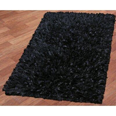 Shimmer Shag Hand-Loomed Black Area Rug Rug Size: 26 x 42