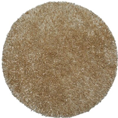Shimmer Shag Handmade Beige Area Rug Rug Size: Round 3