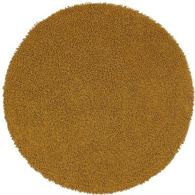 Shagadelic Hand-Loomed Gold Area Rug Rug Size: Round 3