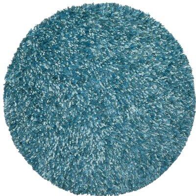 Shimmer Shag Hand-Loomed Aqua Area Rug Rug Size: Round 5