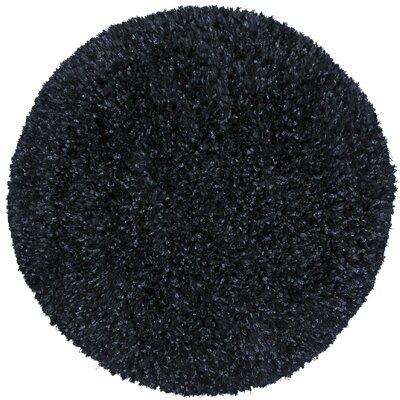 Shimmer Shag Hand-Loomed Black Area Rug Rug Size: Round 5
