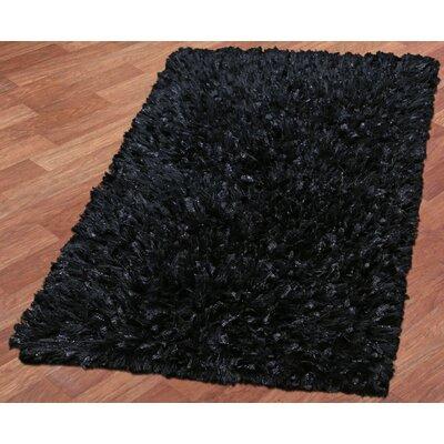 Shimmer Shag Hand-Loomed Black Area Rug Rug Size: 19 x 210