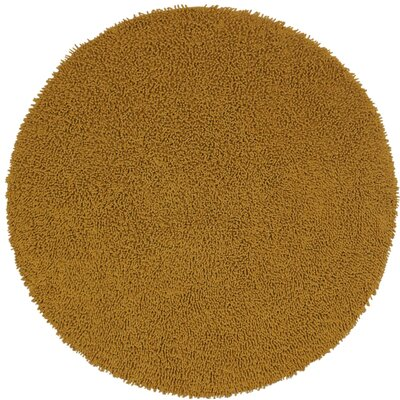 Shagadelic Hand-Loomed Gold Area Rug Rug Size: Round 5
