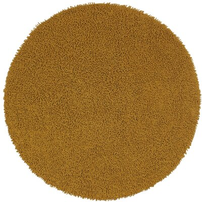 Shagadelic Hand-Loomed Gold Area Rug Rug Size: Round 2