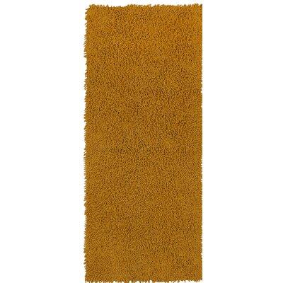 Shagadelic Hand-Loomed Gold Area Rug Rug Size: Runner 2 x 5