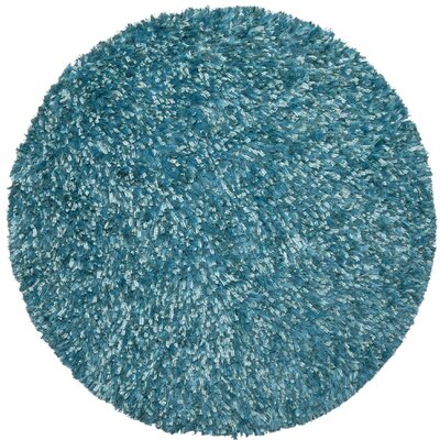 Shimmer Shag Hand-Loomed Aqua Area Rug Rug Size: Round 3
