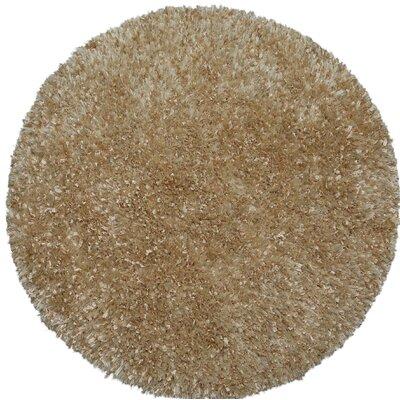 Shimmer Shag Handmade Beige Area Rug Rug Size: Round 2
