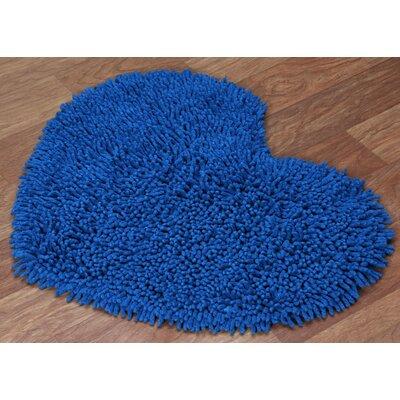 Shagadelic Hand-Loomed Neon Blue Area Rug Rug Size: Heart 18 x 2