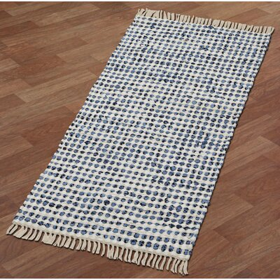 Complex Hand-Loomed Blue/White Area Rug Rug Size: Runner 2 x 5
