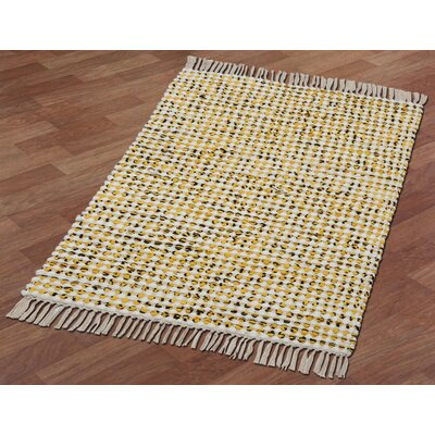 Complex Hand-Loomed Yellow Area Rug Rug Size: 26 x 42