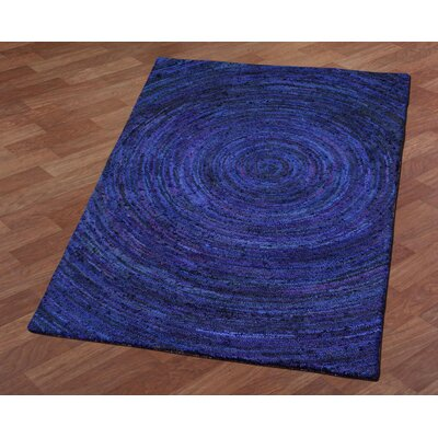 Brilliant Ribbon Hurricane Hand-Tufted Blue Area Rug