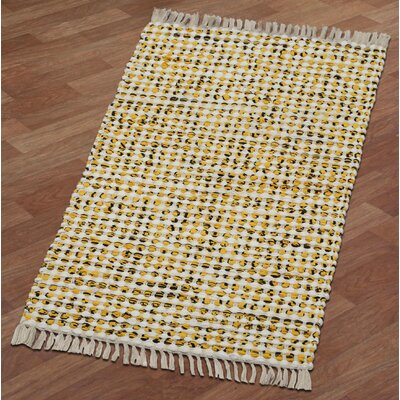 Complex Hand-Loomed Yellow Area Rug Rug Size: Runner 2 x 5